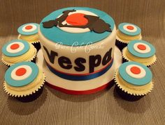 Mod themed vespa cake by www.facebook.com/PataCakeCupcakes.Preston?ref=hl