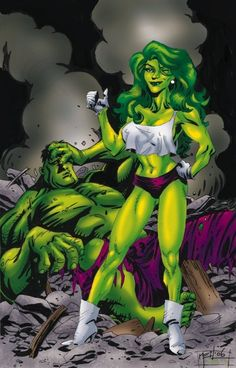 Original Comic Art titled Neil Vokes She Hulk & Hulk with my color, located in TOM's original art collection.My personal art commissions from other artists.Hulk & She Hulk Comic Art Gallery Comics Anime, Marvel Comics Art, Hulk Marvel, Marvel Heroes, Hulk Comic, Comic Art, Comic Book Characters, Comic Character, Comic Books
