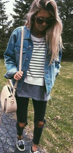 Distressed | Denim | Layers . . . . . . . . . . . . . . . . . . . . . . . . #fallfashion #denim #layering