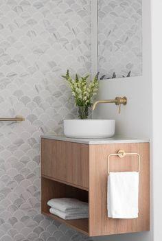 Gallery - TileCloud Bathroom Renos, Bathroom Interior, Bathrooms, Bathroom Inspiration, Interior Design Inspiration, Bathroom Inspo, Bathroom Ideas, Fish Scale Tile, Splashback Tiles