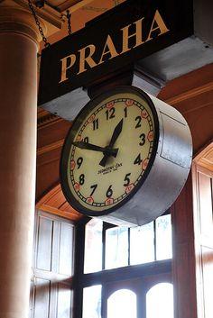 Clock, Fantova kavárna (Railway) Prague, Czech Republic
