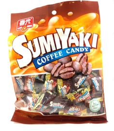 Chun Guang Sumiyaki Coffee Hard Candy, 5.6 oz. Roasted coffee candy made with coconut milk! About 30-32 pieces per bag.