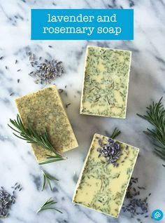 Add a personal, fragrant touch to your bathroom with DIY lavender + rosemary soap.