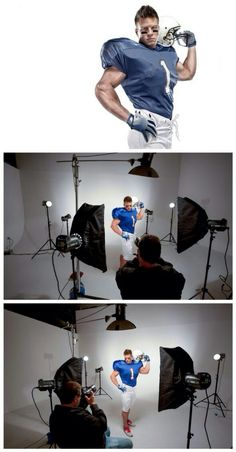 Lighting Recipes: Sports Portrait- In the Studio and with a Composite Photography Lessons, Flash Photography, Sport Photography, Photoshop Photography, Light Photography, Photography Tutorials, Digital Photography, Studio Lighting Setups, Photography Lighting Setup