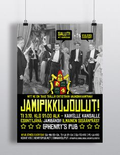 Pikkujoulut / Henry's Pub Kuopio by Ville Palmu, via Behance Party Poster, Night Club, Advertising, Behance, Graphic Design, Marketing, Visual Communication