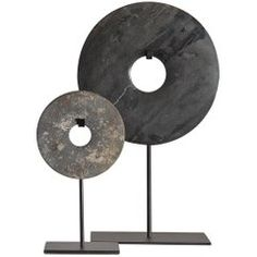 Chinese Marble Bi Discs on Steel stand in Decorative Objects