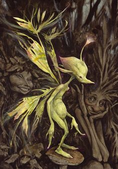 Brian Froud use of almost neon colouring in darker atmosphere creates a sense of magic, the character is lit internally and externally