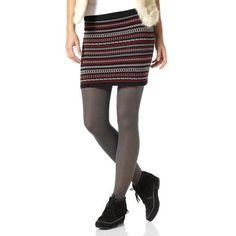 Jupe courte tricot Jacquard femme AJC - Motifs noir- Vue 1