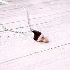 Cute Chocolate Ice Cream Bar Necklace, Handmade Polymer Clay Miniature Food Jewelry, Cute Necklace