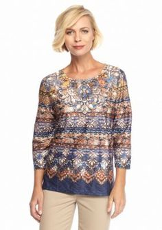 Alfred Dunner  Petite Medallion Biadere Knit Top