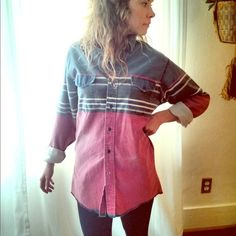 Vintage Wrangler Button up Shirt Love the stripes and fading on this shirt! And the X-long tails make it perfect length for wearing with leggings. Size on tag is 15-33, fits me like a women's medium. Tops Button Down Shirts