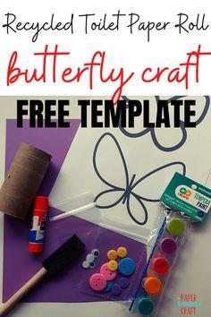 Easy Toddler Crafts, Quick Crafts, Crafts Cheap, Spring Crafts For Kids, Diy For Kids, Preschool Crafts, Kids Crafts, Craft Free, Butterfly Crafts