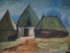 Doek met Saksische boerderij in de Ploeg stijl. niet gesigneerd.