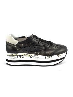PREMIATA | Premiata Premiata Beth Sneaker In Black Leather And Perforated Trasparent Vinyl #Shoes #Sneakers #PREMIATA