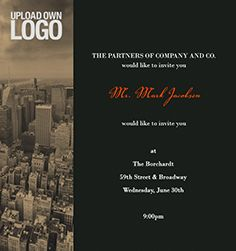 Corporate Invitation with City theme, upload logo space, and formal text.