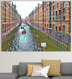 Rundfahrtboote am Kehrwiederfleet unterhalb des Kehrwiedersteges in der Speicherstadt in Hamburg, Deutschland Illustration, Pictures, Printing On Wood, Artist Canvas, Digital Art, Canvas Frame, Illustrations