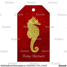 Gold Seahorse Personalize Gift Tags
