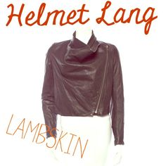 """NWOT Helmut Lang lambskin leather jacket Gorgeous black Helmut Lang leather jacket with cowl neckline, two front pockets at waist, & front antique silver-tone zip with concealed snap closure. Buttery soft lamb leather makes this one a stunner!  Bust 38"""". Waist 34"""". Shoulder 14.5"""". Length 20"""".   100% lamb. Lining: 95% silk. 5% spandex.   New without tags. Excellent condition.  % authentic.  MSRP $1390.00.   ❌trades. ❌PayPal. ✅offers. Helmut Lang Jackets & Coats"""