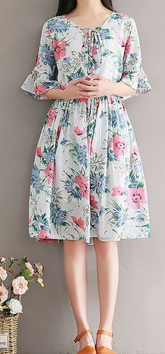 Women loose fit over plus size retro flower dress skater tunic fashion casual #Unbranded #dress #Casual