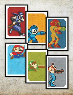 "Retro NES Series 2 Poster Set: Ninja Gaiden, Mega Man, Metroid, Mario, Zelda & Contra inspired prints 11X17"" Christmas Present Idea wink wink"