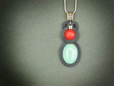 Minimal pendant simple pendant blue pendant embroidered by pUkke Soutache Bracelet, Soutache Pendant, Soutache Jewelry, Beaded Earrings, Beaded Jewelry, Handmade Jewelry, Beaded Bracelets, Unique Jewelry, Turquoise Pendant