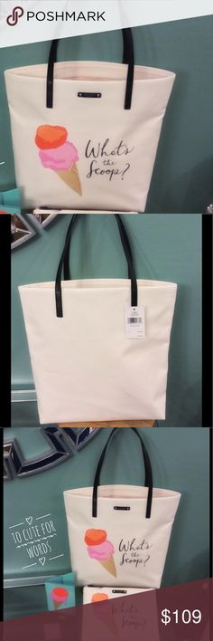 Kat Spade Flavor of the Month Tote Travel in style with the super tote by Kate Spade. It's called flavor of the month. The cutest tote with an ice cream scoop that measures 13 1/2 x 15 1/2 x 5. Brand new with tags. The last pic is to show you the collection. (THIS LISTING IS JUST FOR THE TOTE. ALL OTHER ITEMS SOLD SEPARATELY OR AS A SET IN ANOTHER LISTING). kate spade Bags Totes
