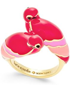 kate spade new york Out Of Office Gold-Tone Pink Parrot Stud Earrings - Jewelry & Watches - Macy's
