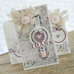 Vintage Shabby Chic Card - Thank You