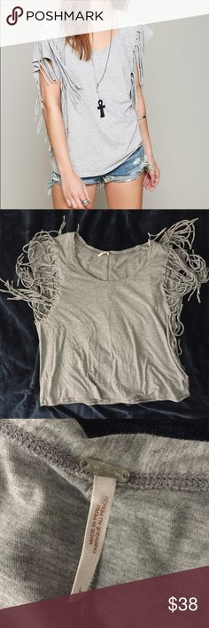 Free People Large Gray Fantasy Fringe Top Free People Large Gray Fantasy Fringe Top  Size: large Color: Gray  Materials: 100% Cotton  Measurements: Chest: 23in Waist: 22in Length: 25in Free People Tops