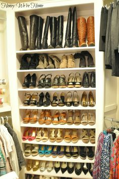 I want this closet--Honey We're Home: Organized Shoes