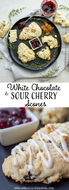 White Chocolate & Sour Cherry Scones - A Whole Lotta Oven Best Dessert Recipes, Brunch Recipes, Fun Desserts, Delicious Desserts, Party Recipes, Yummy Treats, Yummy Food, Savory Breakfast, Sweet Breakfast