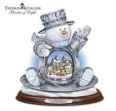 Thomas Kinkade Let It Snow Lighted Musical Crystal Sledding Snowman