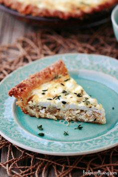 Goat Cheese Quiche with Caramelized Onions and Thyme - An easy to make weekend quiche recipe made with goat cheese and caramelized onions.