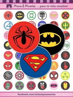 """Super Hero Logos - 1"""" Bottle Cap Images - Digital Collage Sheet 8.5x11"""" and 4x6 """" - Hair Bow Centers, Magnets, Stickers - INSTANT DOWNLOAD"""