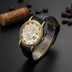 SOXY Top Brand Luxury Skeleton Watch Men Watch Fashion Gold Business Watches Leather Mens Watches Hour Clock relogio masculino