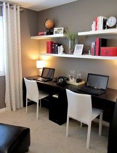 Two work stations for company/collaboration. Simple desk and wall colors allow for colorful and fun accents.