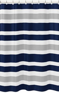 $40 Bed and bath collection available. Navy Blue and Gray Stripe Kids Bathroom Fabric Bath Shower Curtain - Click to enlarge
