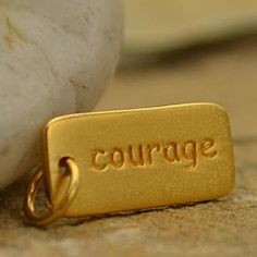 Satin 24K Gold Plated Sterling Silver Courage Word Charm
