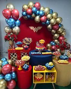 Nenhuma descrição de foto disponível. Wonder Woman Birthday, Wonder Woman Party, Balloon Decorations, Birthday Party Decorations, Party Themes, Superhero Birthday Party, Birthday Parties, 27th Birthday, Superman Birthday