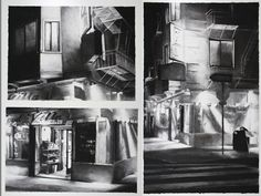Sarah Newton - Food Villa; charcoal on paper; 28in x 35in