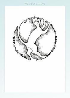 Black and white cat drawing. Modern minimalist line art by siret, $20.00