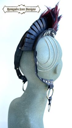 Leather feathered head piece burning man club wear by Renegadeicon