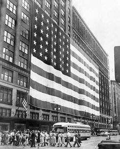 The Hudson flag on its downtown Detroit Woodward Avenue store on flag day in 1950.