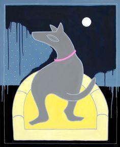 """andrea mattiello """"Moon""""  acrilico su tela cm 80x100; 2013; andrea mattiello per olipet #contemporary #art #arte #artista #emergente #collage #cane #dog #love #olipet"""