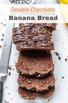 Our Double Chocolate Banana Bread is an easy banana bread recipe that's moist fluffy and loaded with chocolate chips. Easy to make dense fudgy and perfect chocolatey indulgence in every bite. Enjoyed as a snack breakfast or dessert. Make Banana Bread, Chocolate Banana Bread, Healthy Chocolate, Banana Bread Recipes, Chocolate Chips, Chocolate Recipes, Chocolate Cake, Low Fat Desserts, Healthier Desserts