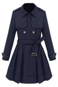 Double-breasted Navy Trench Coat. Description Navy coat,featuring lapel neck,long sleeves styling,double-breasted fastening front,knot fastening to the waist,with shoulder epaulets,armbands to the cuffs,designed with a slim fit finish. Fabric Cotton Washing Machine wash according to instructions on care label. #Romwe