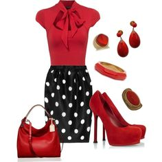 red top/black and white polka-dot bottom dress with red accessories. PERFECT!!