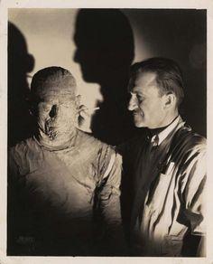 "Boris Karloff and legendary make-up artist Jack Pierce on the set of ""The Mummy"" (1932)."