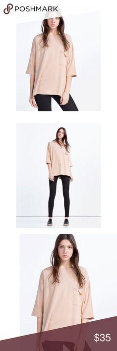 Zara  Oversized Sweatshirt Lightweight cotton sweater shirt in dusty pink from Zara. Features classic crew neckline, raw hem pocket on front, and oversized fit through the body // gently worn + in good condition ☁️ Zara Tops Sweatshirts & Hoodies
