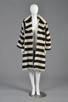 """Jean Muir 1970s Striped Alpaca Shaggy Coat. Late 1970s/early 80s. """"Black and cream striped coat, graphic stripes with contrasting striped pockets. Huge collar. Ultra shaggy and soft alpaca/wool blend""""     BUSTOWN MODERN"""